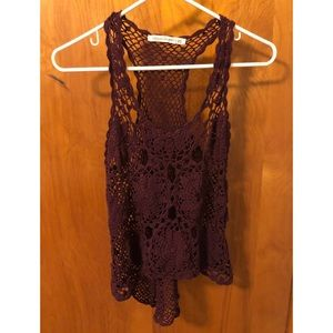 Lace/Knit See-through Burgundy Racerback